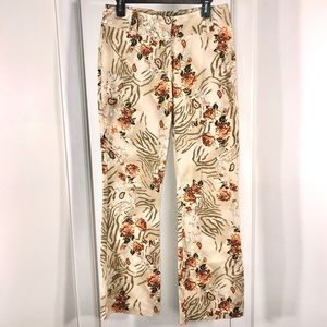 Floral Stretch Jeans, size 8